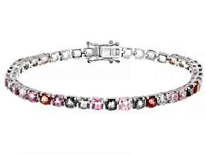 Mixed-Color Spinel Rhodium Over 14k White Gold Bracelet 14.32ctw