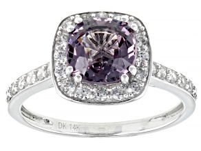 Purple spinel rhodium over 14k white gold ring 2.58ctw