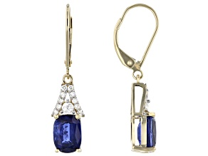 Blue Kyanite 14k Yellow Gold Earrings 3.93ctw