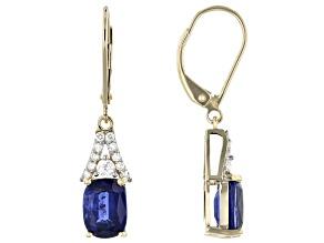 Blue Kyanite 14k Yellow Gold Earrings 3.93ctw