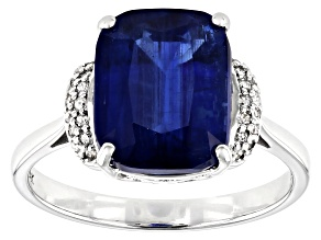 Blue Kyanite Rhodium Over 14k White Gold Ring 4.03ctw