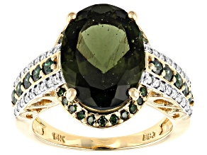 Green Moldavite 14k Yellow Gold Ring 4.47cw