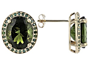Green Moldavite 14k Yellow Gold Earrings 4.87ctw