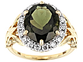 Green Moldavite 14k Yellow Gold Ring 3.65ctw