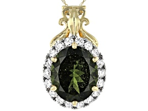 Green Moldavite 14k Yellow Gold Pendant With Chain 3.65ctw