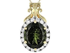 Green Moldavite 14k Yellow Gold Pendant With Chain 3.65ctw