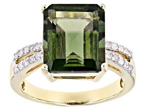 Green Moldavite 14k Yellow Gold Ring 4.18ctw