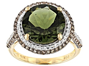 Green Moldavite 14k Yellow Gold Ring 4.61ctw