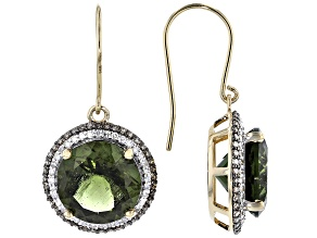 Green Moldavite 14k Yellow Gold Earrings 8.82ctw