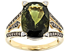Green Moldavite 14k Yellow Gold Ring 4.24ctw
