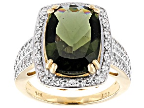 Green Moldavite 14k Yellow Gold Ring 4.27ctw