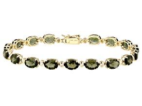 Green Moldavite 14k Yellow Gold Bracelet 9.22ctw