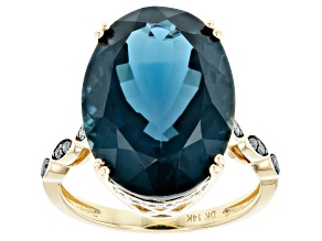 London Blue Topaz 14k Yellow Gold Ring 12.82ctw