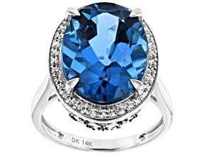 Blue London Blue Topaz Rhodium Over 14k White Gold Ring 10.96ctw