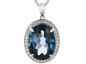 London Blue Topaz Rhodium Over 14k White Gold Pendant With Chain 10.97ctw