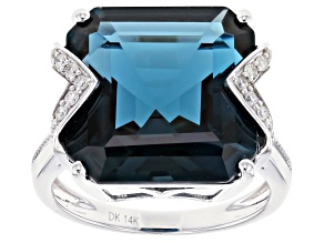 London Blue Topaz Rhodium Over 14k White Gold Ring 13.44ctw