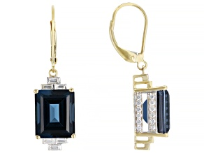 London Blue Topaz 14k Yellow Gold Earrings 11.20ctw