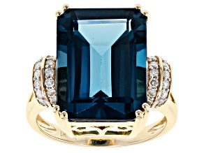 London Blue Topaz 14k Yellow Gold Ring 11.97ctw