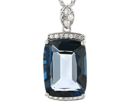London Blue Topaz Rhodium Over 14k White Gold Pendant With Chain 12.05ctw