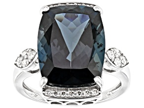 London Blue Topaz Rhodium Over 14k White Gold Ring 12.05ctw