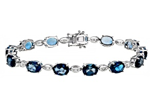 London Blue Topaz Rhodium Over 14k White Gold Bracelet 18.16ctw