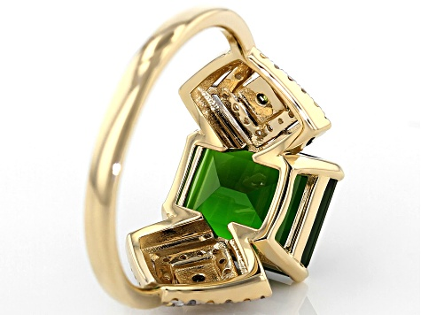 Green Russian Chrome Diopside 14k Yellow Gold Ring 2.93ctw