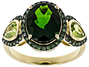 Green Russian Chrome Diopside 14k Yellow Gold Ring 4.40ctw