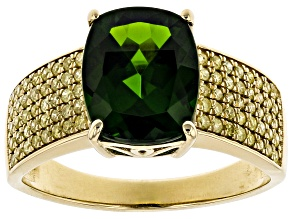 Green Chrome Diopside 14k Yellow Gold Ring 3.19ctw