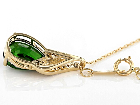 Green Russian Chrome Diopside 14k Yellow Gold Pendant With Chain 1.87ctw