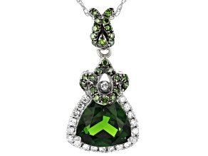 Green Russian Chrome Diopside Rhodium Over 14k White Gold Pendant With Chain 1.81ctw