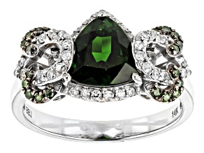Green Chrome Diopside Rhodium Over 14k White Gold Ring 1.86ctw