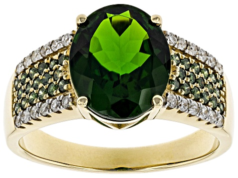 Green Chrome Diopside 14k Yellow Gold Ring 3.76ctw