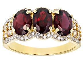 Red Anthill Garnet 14k Yellow Gold Ring 2.89ctw