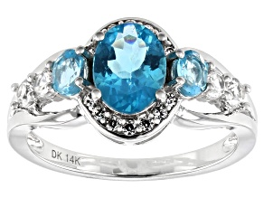 Blue Apatite Rhodium Over 14k White Gold Ring 1.59ctw