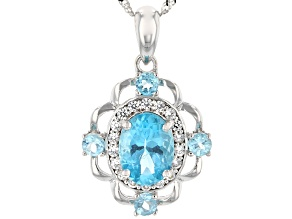 Blue Apatite Rhodium Over 14k White Gold Pendant With Chain 1.55ctw