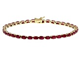 Red Ruby 14k Yellow Gold Tennis Bracelet 9.52ctw