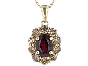 Red Anthill Garnet 14k Yellow Gold Pendant With Chain 1.47ctw
