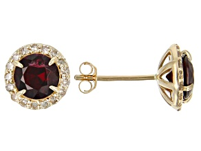 Red Anthill Garnet 14k Yellow Gold Earrings 1.79ctw