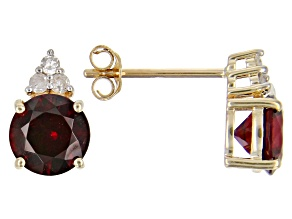 Red Anthill Garnet 14k Yellow Gold Earrings 1.59ctw