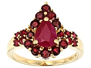 Red Ruby 14k Yellow Gold Ring 2.18ctw