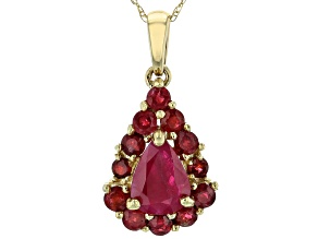 Red Ruby 14k Yellow Gold Pendant With Chain 1.84ctw