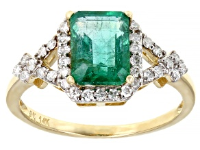 Green Zambian Emerald 14k Yellow Gold Ring 1.57ctw