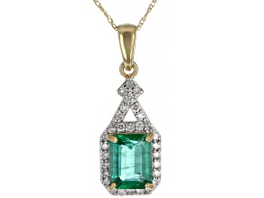 Green Emerald 14k Yellow Gold Pendant With Chain 1.51ctw