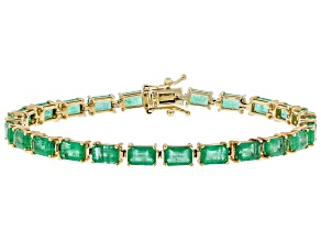 Green Zambian Emerald 14k Yellow Gold Bracelet 14.28ctw