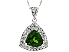 Green Russian Chrome Diopside Rhodium Over 14k White Gold Pendant With Chain 1.96ctw