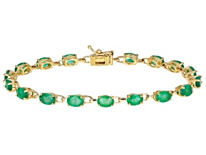 Green Zambian Emerald 14k Yellow Gold Bracelet 6.36ctw
