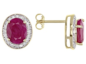 Red Ruby 14k Yellow Gold Earrings 3.87ctw