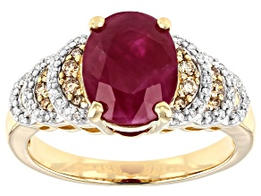 Red Burmese Ruby 14k Yellow Gold Ring 2.97ctw