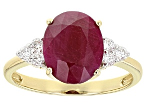 Red Ruby 14k Yellow Gold Ring 3.16ctw