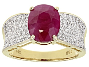 Red Ruby 14k Yellow Gold Ring 3.51ctw